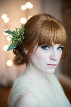 Wedding hair and makeup look with bangs | Whitney Heard Photography | see more on: http://burnettsboards.com/2014/03/3-wedding-worthy-hair-makeup/
