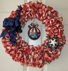 Patriotic Wreath, Faux Burlap, Memorial Day, Summer Wreath.