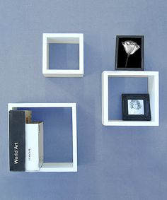 White Wall Cube Shelf Set