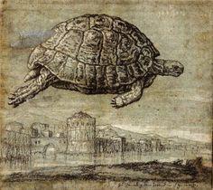 Melchior Lorck - Tortoise above the Venetian Lagoon. 1555
