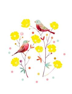 "Watercolor Illustration Print of Birds and Flowers titled ""You Are My Buttercup"" by yumiyumi"