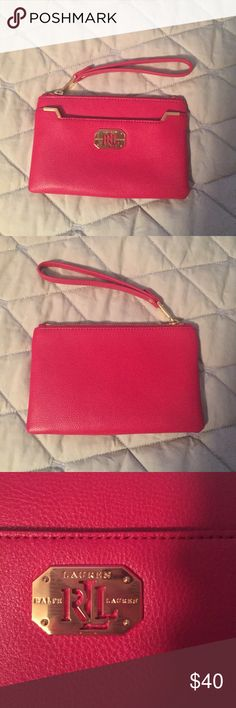 7145823d673 Selling this NWT Ralph Lauren red clutch on Poshmark! My username is   kmbxv3.