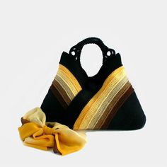 Crochet bag in autumn colors, everyday bag with long handles, tote bag, brown, vanilla, cappuccino, sand yellow, sun yellow