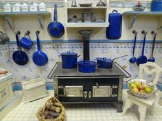Fantastic German Blue and White Kitchen with Rare Accessories and Doll. Jackie Everett Antiques