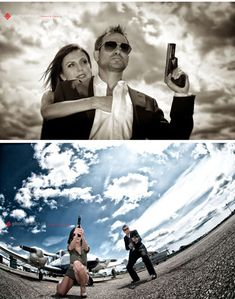 James Bond Engagement Photos FTW (With an airplane, even!) Yes! This is awesome!