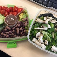 Lunch! Healthy salad  with avocado and mixed beans followed with some fruit! Back on it again so get rid of the French Bread plastered all over my gut and thighs!! #weightlossjourney #weightwatchers #healthyeats #clean #vegan #plantbased #veganfood #vegetarian #veganlife #nodairy #lunch #worklunch #foodie #fooddiary #cleaneating #veganfoodshare