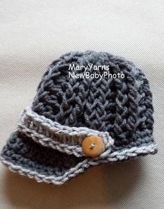 Newsboy Hat Newborn Baby Photo prop in GRAY by MaryYarns on Etsy, $22.00