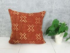 Brown Mudcloth Pillow Cover/ Sienna Camel Terra by NomadCloth