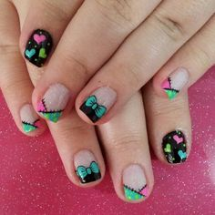 Francés, otros, aya Cute Nail Art, Cute Nails, Pretty Nails, Fabulous Nails, Perfect Nails, Hair And Nails, My Nails, Magic Nails, Nails For Kids