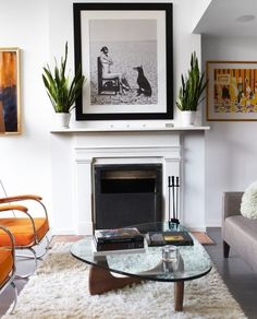 Love the idea of sansevieria on either side of a large picture over the mantle. Modern Fireplace, Modern Mantle, Minimalist Fireplace, Fireplace Mantels, Fireplace Design, Mantles, Fireplace Ideas, Contemporary Fireplaces, White Fireplace