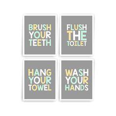 Pale Yellow Mint Grey Printable DIY Kids Bathroom Art Brush