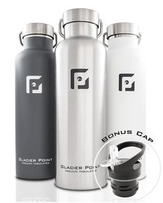 Vacuum Insulated Stainless Steel Water Bottle Cooler Keep Travel 25oz Brushed  #GlacierPointBottle