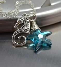 Blue Crystal Starfish Necklace Seahorse by futureheirloomdesign, $39.00