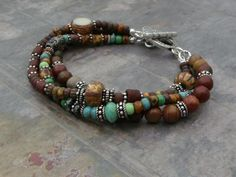 Multi Strand Bali Sterling Silver and Czech by hummingbirdcreation