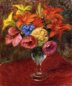"""Poppies, Lilies and Blue Flowers"", Oil On Canvas by William James Glackens (1870-1938, United States)"