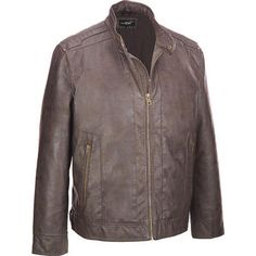 Big & Tall Black Rivet Two Tone Faux-Leather Jacket #Wilsonsleather #Mensbigandtall
