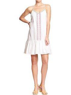 Women's Embroidered Linen-Blend Dresses | Old Navy