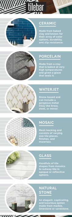 A quick rundown on the different types of tiles on the market. This way, when you're ready to shop, you're armed with some crucial knowledge. Home Design, Design Jobs, Bath Design, Floor Design, Design Design, Coventry, Kerala, Interior Design Institute, Classic Kitchen