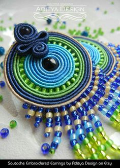 Soutache Earrings Blue Green Multicolor Earrings by AdityaDesign Bead Embroidery Tutorial, Etsy Embroidery, Beaded Embroidery, Jewelry Crafts, Jewelry Art, Beaded Jewelry, Handmade Jewelry, Jewelry Ideas, Jewelry Accessories
