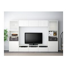 "BESTÅ TV storage combination/glass doors, white, Selsviken high-gloss/white frosted glass - 118 1/8x15 3/4x75 5/8 "" - drawer runner, push-open - IKEA"