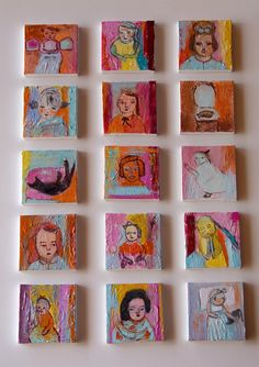 Original Painting on tiny canvas 3x3 Art for fun girls by AnaGonzalezArt