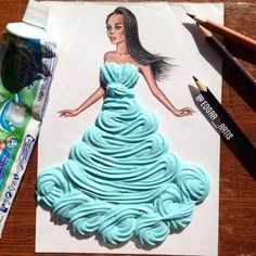 Creative Art / Funny Art ideas : Edgar Artis is an Armenian illustrator who uses a fascinating mix of paper cut outs and pencil drawings using everyday objects. Moda 3d, Arte Fashion, Dress Fashion, High Fashion, Disney Designs, Funny Drawings, Pencil Drawings, Illustration Mode, Instagram Artist