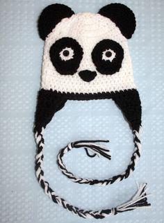 Panda Bear Earflap Hat Free Crochet Pattern (note: I will need Em to measure her head, hehe)