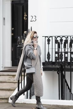 """The """"Groutfit"""" - all grey and super comfortable. Wearing leather trousers, a grey high neck knitted jumper from ASOS, I Love Mr Mittens blanket scarf, Chloe """"Susanna"""" boots, See World Optical aviators, a Hermes CDC cuff and carrying a Chanel WOC"""