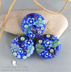 Handmade lampwork beads  B l u e  S i l k i e s  by calypsosbeads, $61.00