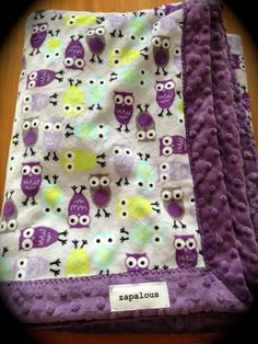 Minky super soft owl blanket babies toddlers purple by Zapalous, $55.00