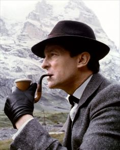 """Sherlock Holmes, as realized to perfection by Jeremy Brett. Holmes faces """"The Final Problem."""""""