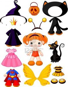 Girl with dresses for halloween pa. Paper doll with three dresses for halloween party. Halloween Doll, Halloween Costumes For Girls, Halloween Crafts, Halloween Party, Paper Bag Princess Costume, Paper Toys, Paper Crafts, Paper Puppets, Paper Dolls Printable