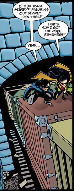 Tim and Nightwing Nightwing, Batgirl, Catwoman, Damian Wayne, Jason Todd, Red Hood, Timothy Drake, Tim Drake Red Robin, Richard Grayson