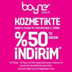 Boyner'den Anneler Günü'ne özel kozmetikte işaretli marka ve parfümlerde 2. ürüne %50'ye varan indirim! Boyner Marmara Park 2. katta.
