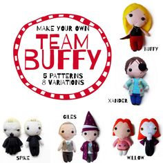 Make your very own felt Buffy the Vampire Slayer dolls! 5 patterns with 8 variations! Includes: - Buffy Summers (with Mr Pointy) - Willow Rosenberg Make Your Own, Make It Yourself, How To Make, Buffy Summers, Buffy The Vampire Slayer, Pdf Patterns, Diy Projects To Try, Felt Crafts, Little Ones
