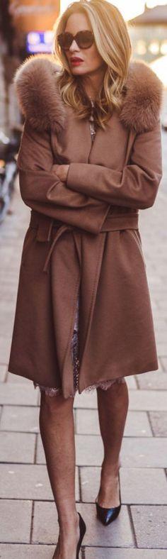 Camel Coat On White Lace Dress   Carolina Gynning #camel