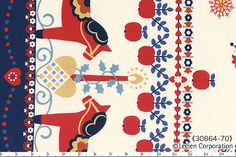 HALF YARD Lecien - Dala Horse Double Border Print 30864-70 BLUE - Folklore Christmas Collection - Flowers, Holly Berries, Tulip - Japanese