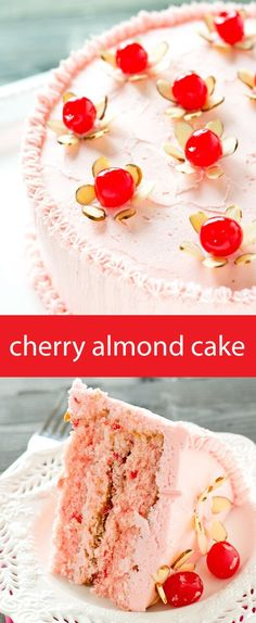 cherry almond cake / from scratch cake recipe / cherry cake / maraschino cherry flowers / easy cake recipe / pink cake / homemade cake via /tastesoflizzyt/ (Bake Desserts From Scratch) Köstliche Desserts, Delicious Desserts, Dessert Recipes, Yummy Food, Cherry And Almond Cake, Almond Cakes, Cherry Cake Recipe, Easy Almond Cake Recipe, Cupcake Recipes From Scratch