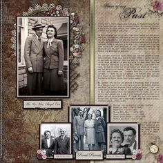 """Pieces Of My Past """"Wedding Day How We Met"""" - Digital Scrapbook Place Gallery Heritage Scrapbook Pages, Vintage Scrapbook, Wedding Scrapbook, Scrapbook Page Layouts, Scrapbook Cards, Family History Book, Old Family Photos, History Photos, Album Photo"""