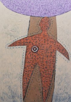 Título: Hombre Globalizado   Autor: Alvaro Galindo Vácha   Dimensiones: 100 x 70 cm   Técnica: Acrílico sobre tela   Año: 2004   Firmado: Frente y revés