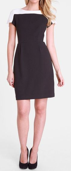 Colorblock Crepe Sheath Dress