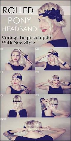 1920's 1930's flapper retro hair styles. rolled pony headband, bun, flapper inspired hair