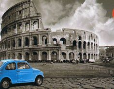 Coliseum, Rome is a 1000 piece Mini puzzle from Educa featuring an image of a blue car in a black and white photo of the famous landmark. Oil Painting On Canvas, Diy Painting, Canvas Paintings, Home Decor Wall Art, Home Art, Paint By Number Kits, Number Art, Famous Places, Paint Set