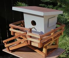 Beach Lifeguard Tower Birdhouse Tropical by MidCenturyWoodShop, $185.00
