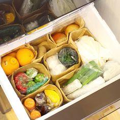 """さふぁいあ on Instagram: """"2018.4.2 . #野菜室収納 . ①野菜室下段のみ ②紙袋とったところ ③野菜室上段 ④人参、ヘタを落としてラップ ⑤ピーマン、個別ラップ ⑥青じそ、水はりコップにラップ ⑦きゅうり、キッチンペーパーラップ ⑧ベビーリーフ、キッチンペーパー挟み…"""" Kitchen Organization, Storage Organization, Produce Storage, Diy Kitchen, Fresh Rolls, My Room, Cooking, Ethnic Recipes, Interior"""