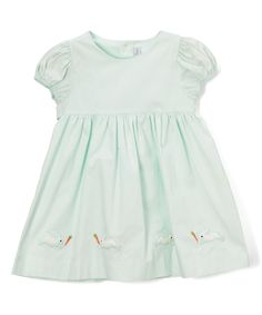 Take a look at this Fantaisie Kids Mint Embroidered Bunny A-Line Dress - Infant & Toddler today!