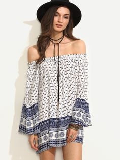 4533f8c527 Apricot Off The Shoulder Crochet Trim Shift Dress -SheIn(Sheinside ...