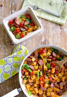Sweet Potato and Butternut Squash Hash. This delicious, colorful hash is perfect cold weather comfort food. One recipe makes a week of breakfast meal prep. Breakfast Bites, Make Ahead Breakfast, Breakfast Recipes, Butternut Squash Hash, Meals For One, Sweet Potato, Food To Make, Meal Prep, Potatoes