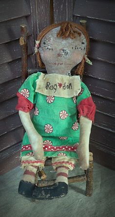 """MUSTARD SEED ORIGINALS, Primitive, Very Primitive, Folk Art, Christmas, Peppermint, Xmas, Raggedy Ann, Doll, Hafair, TeamHaHa, Green, Red, White by Mustard Seed Originals on Etsy.com.  15 ½"""" tall Raggedy Ann doll would make a great little gift for the primitive collector. She was handmade and wears a dress from a peppermint candy print on green background with red sleeves and trimmed along the front of the hemline with red grosgrain ribbon with white polka dots.  Ann also wears muslin…"""