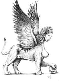 Sphinx - a winged monster of Thebes, having a woman's head and a lion's body. It propounded a riddle about the three ages of man, killing those who failed to solve it, until Oedipus was successful, whereupon the Sphinx committed suicide.